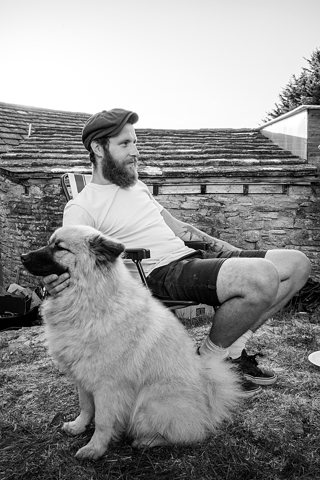 Man and his dog.